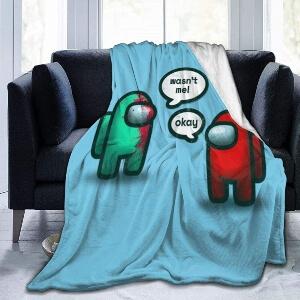 Manta personaje verde y rojo Among Us