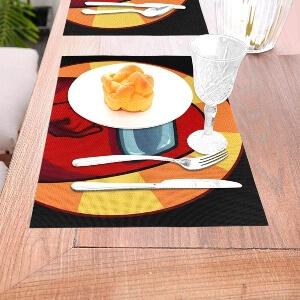 Mantel con cubiertos, plato y vaso Among Us