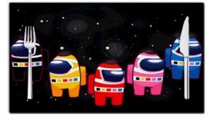 Manteles personajes en el espacio Among Us