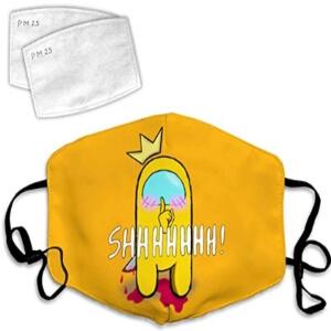 Mascarilla personaje impostor amarillo con corona Among Us