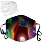 Mascarilla personajes con nave espacial Among Us
