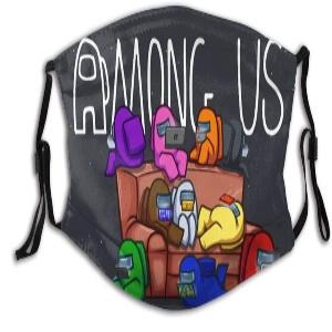 Mascarilla personajes diferentes colores en el sofa Among Us