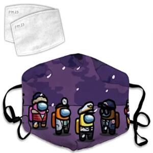 Mascarilla personajes en ambiente nevando Among Us