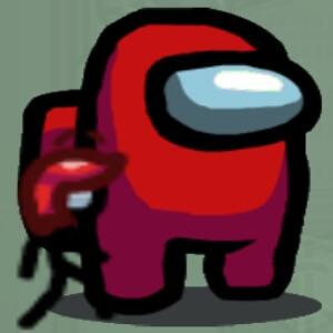 Mascota personaje sencillo con cabello Among Us