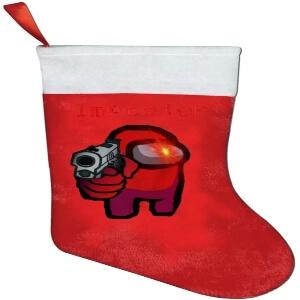 Media Navidad personaje rojo con pistola Among Us