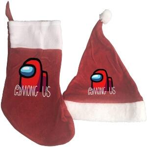 Media y gorro Navidad personaje rojo con letras Among Us