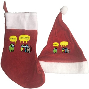 Media y gorro Navidad personajes hablando Among Us