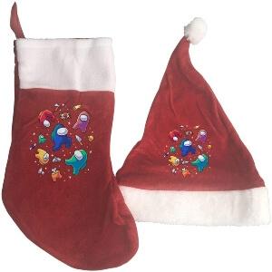 Media y gorro Navidad personajes y objetos Among Us