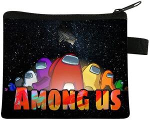 Monedero personajes con nave espacial y letras Among Us