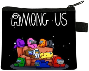 Monedero personajes en el sofa con letras Among Us