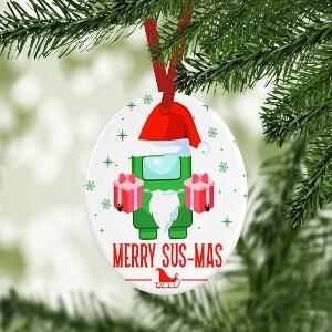 Ornamento Navidad merry sus mas personaje verde con regalos Among Us