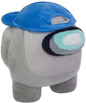 Peluche personaje gris con gorra azul Among Us