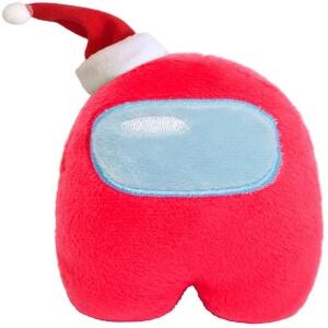 Peluche personaje rojo con gorro navidad Among Us