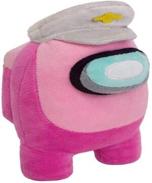 Peluche personaje rosa con gorra Among Us