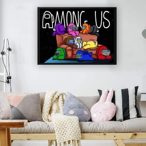 Pintura de diamantes 5D personajes en el sofa de Among Us