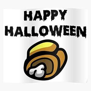 Poster cadaver amarillo happy halloween Among Us