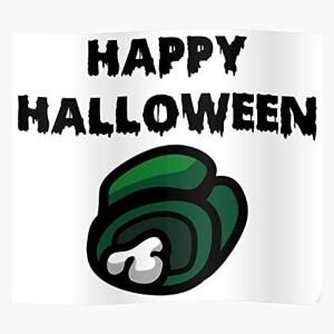 Poster cadaver verde happy halloween Among Us