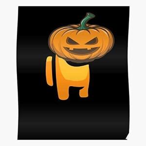 Poster personaje naranja con calabaza halloween de cara Among Us