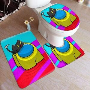 Productos decorativos para el baño personaje amarillo con gato Among Us