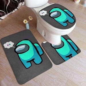 Productos decorativos para el baño personaje celeste Among Us