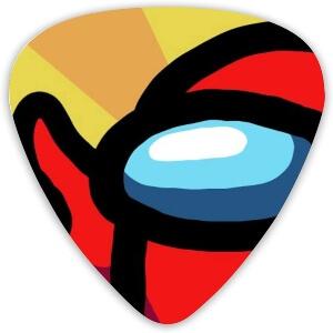 Puas guitarra ojos personaje rojo Among Us