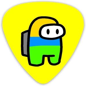 Puas guitarra personaje amarillo, azul y verde Among Us