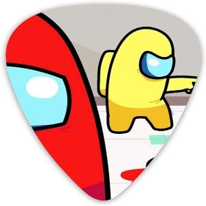 Puas guitarra personaje amarillo y rojo Among Us