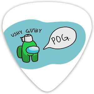 Puas guitarra personaje verde con papel higienico Among Us