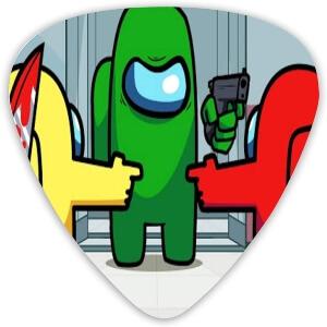 Puas guitarra personaje verde con pistola Among Us