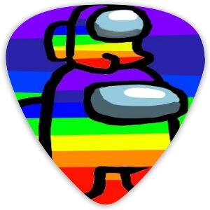 Puas guitarra personaje y personaje pequeño colores arcoiris Among Us