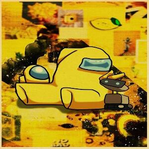 Puzzle personaje amarillo con robot y mini personaje Among Us