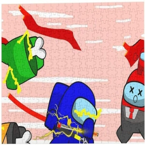 Puzzle personaje azul con espada Among Us