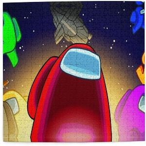 Puzzle personaje rojo en el espacio Among Us