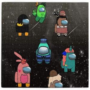 Puzzle personajes con diferentes atuendos Among Us