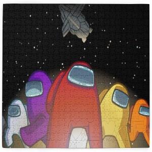 Puzzle personajes con nave espacial de Among Us