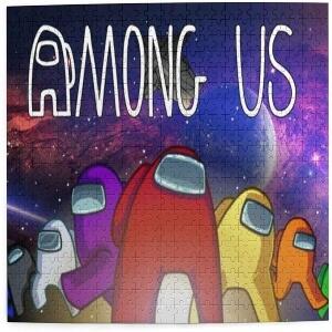Puzzle personajes con nave espacial en el espacio y letras Among Us