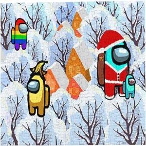 Puzzle personajes con paisaje nevado de navidad Among Us