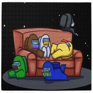 Puzzle personajes en el sofa Among Us