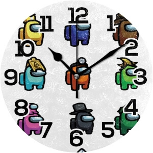 Reloj de pared personajes con atuendos Among Us