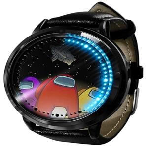 Reloj digital personajes con nave espacial Among Us