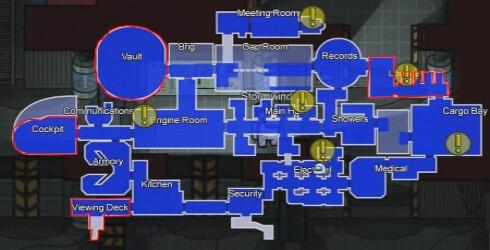 Sitios donde esconderse en el mapa The Airship Among Us