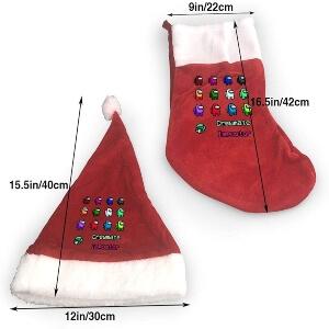 Tamaño medias y gorros de Navidad Among Us