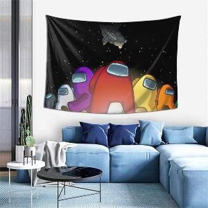 Tapiz personajes con nave espacial Among Us