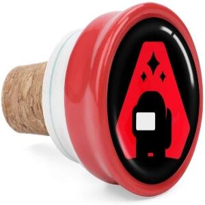Tapon de corcho personaje negro con fondo rojo Among Us
