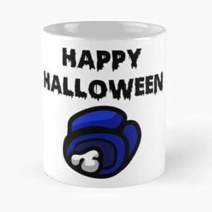 Taza cadaver azul happy halloween Among Us