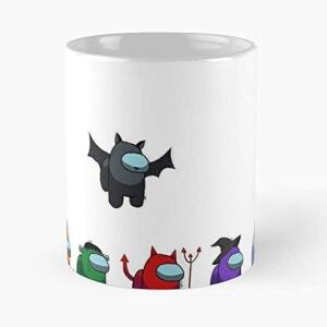 Taza con distintos personajes diablos halloween Among Us