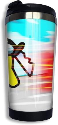 Taza con tapa personaje amarillo con cuchillo Among Us