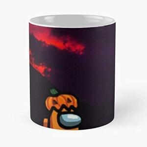 Taza personaje naranja con calabaza fondo negro halloween Among Us