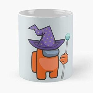 Taza personaje naranja con gorro de bruja y varita magica halloween Among Us