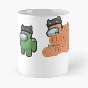 Taza personajes con sombrero de gato y calabazas halloween Among Us